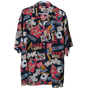 Hilo Hattie hawaii 100% silk las vagas poker shirt
